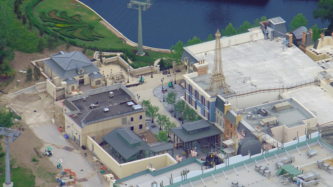 A late May look at the expansion area of Epcot's France Pavilion where the new Ratatouille attraction is located. - IMAGE VIA BIORECONSTRUCT | TWITTER
