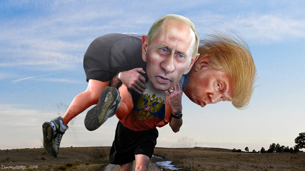 Vladimir Putin carrying his buddy Donald Trump - ILLUSTRATION BY DONKEY HOTEY, UNDER CC CREATIVE COMMONS LICENSE