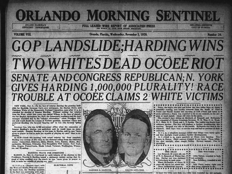 The Orlando Sentinel called the murders a 'race riot' and reported two white live were lost – no mention of the deaths of 35 Black Ocoee citizens. - PHOTOS AND DOCUMENTS COURTESY ORANGE COUNTY REGIONAL HISTORY CENTER