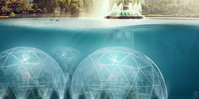 A rendering of a fictional restaurant at the bottom of Lake Eola.
