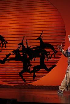 Buyi Zama as Rafiki heralds the return of 'The Lion King' to Orlando.