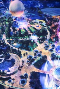 An artist rendering of Disney's Future World plans. Presented at the 2017 D23 convention.