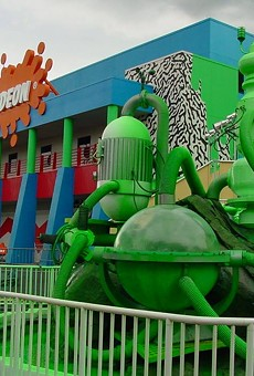 The slime geyser and the Nickelodeon Studios at Universal Studios Florida