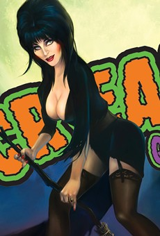 Cassandra 'Elvira' Peterson holds court at this year's Spooky Empire