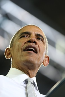 Barack Obama stumps for Hillary Clinton days before the 2016 presidential election at UCF's CFE Arena.