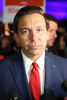 Republican gubernatorial nominee Ron DeSantis speaks with reporters at his Election Day rally after declaring victory over his democratic opponent Andrew Gillum.
