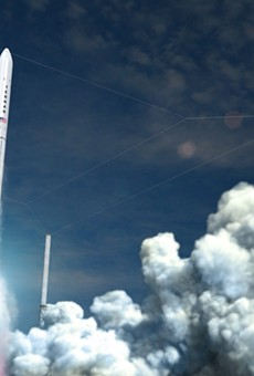 A rendering of Relativity's flagship launch vehicle, Terran 1, blasting off.