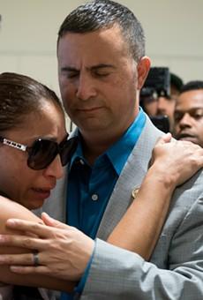 U.S. Rep. Darren Soto comforts Alejandra Juárez