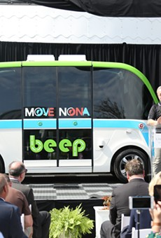 NAVYA CEO Jerome Rigaud unveils AUTONOM, the self-driving shuttle soon to be tailored for Lake Nona.