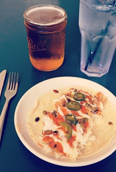 Butter chicken taco at Pig Floyd's Urban Barbakoa: one is plenty, but two are still under $10.