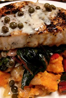 Possible NOVA menu item: Pine Island black grouper with sweet potato bacon hash, wilted Tuscan kale, lobster butter