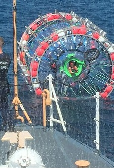A Florida man was rescued after trying to ride a hamster ball to the Bahamas