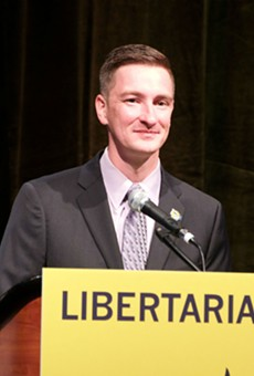 Nicholas Sarwark, chair of the Libertarian National Committee, speaks at the party's national convention in Orlando.
