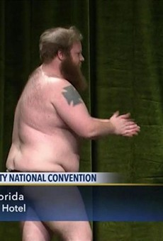 Libertarian Party chair candidate strips on stage at national convention