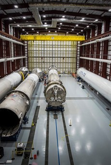 Landed SpaceX rockets lie in hanger 39A, Cape Canaveral, Florida.