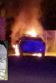 A police car was set on fire in Daytona Beach, Black Lives Matter note found nearby