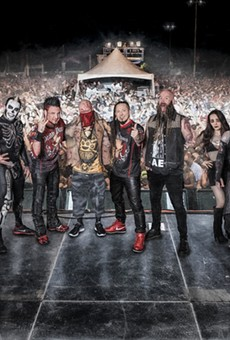 Clearly not-photoshopped picture of Five Finger Death Punch, Sixx A.M. and Shinedown