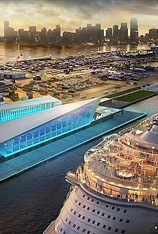 The new PortMiami Royal Caribbean Terminal, one of the few cruise terminals large enough to handle to the massive Oasis-class ships