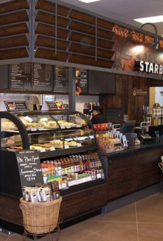 "Photo of a prototype reclaimed-wood Starbucks kiosk from Starbucks' ""My Idea"" blog."