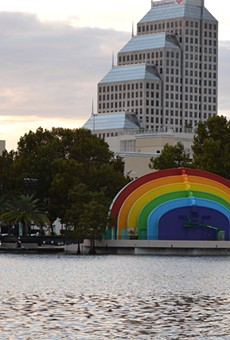 Lake Eola Bandshell painted with rainbow theme in honor of Pulse victims