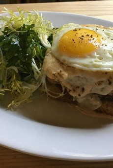 Croque madame with frisee salad.