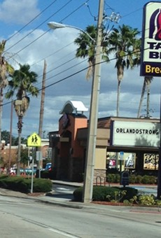 Taco Bell on 17-92 still has 'OrlandoStrong' on the marquee
