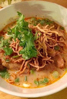 Khao soi: a Northern Thai coconut curry soup topped with fried noodles