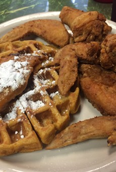 Chicken and waffles at Chef Eddie's on Church Street.