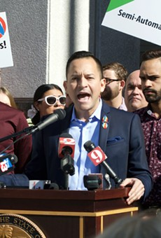 State Rep. Carlos Guillermo Smith stands alongside Pulse survivors.