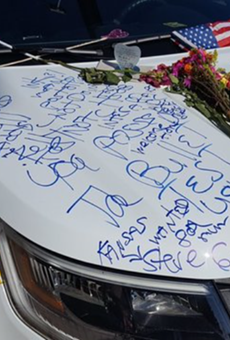 Police cruiser belonging to fallen officer Lt. Debra Clayton vandalized