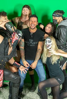 Adam McCabe of Edgefactory surrounded by Serpentico, Jay Sky, Teddy Stigma, Lexi Gomez, Richard King and Destiny (Kallee Topper)