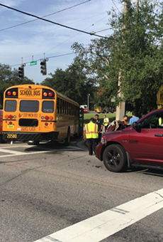 School bus and pickup truck collide in Orlando, 3 children complain of head pain
