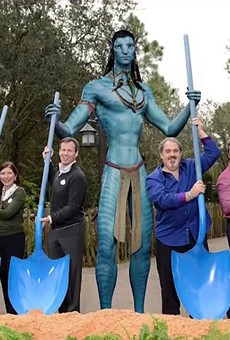 Out of the five Disney executives in this 2014 Pandora groundbreaking ceremony photo, only two still remain at the company. An altered version of the photo, with the executives who are no longer at the company being removed from it, is on display within the land.