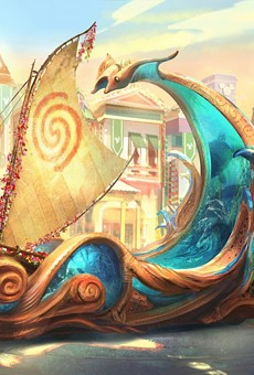 Concept art for a float featured in Disneyland's upcoming Magic Happens parade
