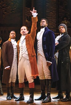 Elijah Malcomb, Joseph Morales, Kyle Scatliffe, Fergie L. Philippe and company in 'Hamilton'
