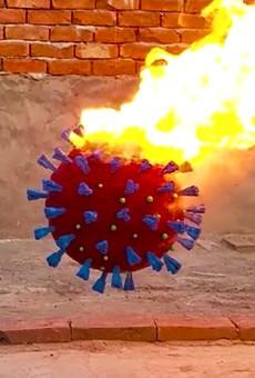 Coronavirus model made of matches