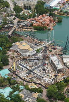 An overview of the Jurassic Park area with the coaster construction site in the middle.