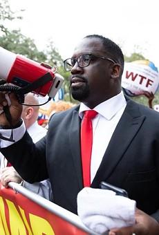 Florida Education Association President Fedrick Ingram leading a Tallahassee rally