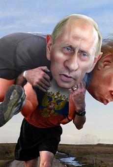 Vladimir Putin carrying his buddy Donald Trump