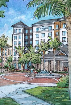 Concept art for two of the hotels at Flamingo Crossings
