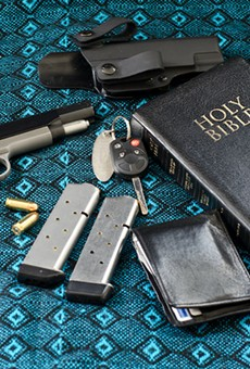 [pats pockets] Let's see: wallet, keys, 45-caliber semiautomatic pistol, extra clips, ankle holster, Good Book ... yep, ready for church