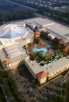 An aerial image of the Gaylord Palms expansion. The 'L-shaped' Gulf Coast tower can be seen in the bottom center with the convention center expansion directly to the right of it. The Cypress Springs water park can be seen in the center of the image.