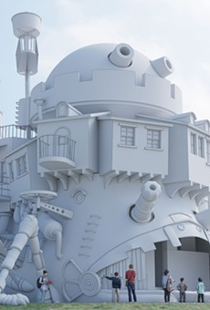 Concept art, without any final coloration, of Howl's Moving Castle planned for Ghibli Park