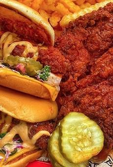 A double-decker Dave's Hot Chicken sandwich