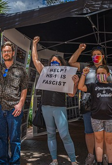 Protesters at a rally at Orlando City Hall against HB1, May 2021