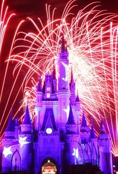 A pre-COVID firework display at the Magic Kingdom