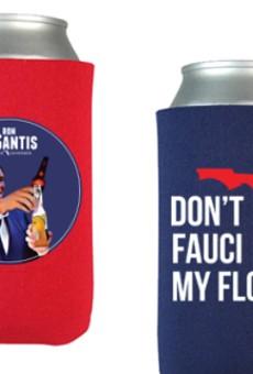Florida Gov. Ron DeSantis is selling anti-COVID lockdown koozies on his campaign website.