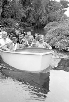 A group of international teachers take in the sights of the Cypress Gardens boat tour in 1958. Accompanying note on the image identifies the teaches as 1st row: Mr. Hen Seang Moey, Singapore, Mr. Leslie Johnson, Australia, Mrs. Marian Black, Tallahassee, 2nd row: Mr. Johannes Helgheim, Norway, Miss Claudia Thonnard, Sec., Mr. Mario Maricchio, Italy (& wife) Left rear: Miss Elsa Morales, Mexico.