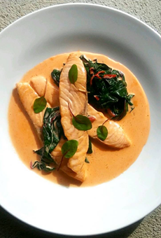 """Homage to a classic, salmon and sorrel."""