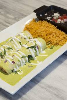 Green chile enchiladas at Saint Anejo Mexican Kitchen and Tequileria.